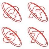 Esquema rojo 5 de las mayúsculas Imagen de archivo libre de regalías