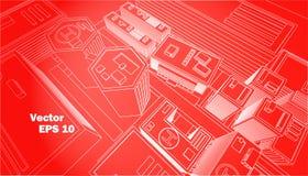Esquema rojo del blanco del fondo del centro de ciudad de la visión superior Imágenes de archivo libres de regalías