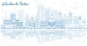 Esquema Salvador de Bahia City Skyline con los edificios y R azules stock de ilustración