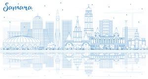 Esquema Samara Russia City Skyline con los edificios azules y Refle ilustración del vector