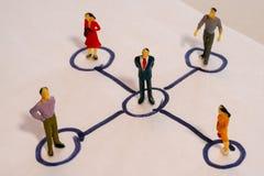 Esquema social de la red que contiene a los hombres de negocios miniatura conectados el uno al otro Concepto del establecimiento  fotos de archivo libres de regalías