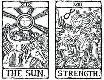 Esquema v.8 de dos tarjetas de Tarot Foto de archivo libre de regalías