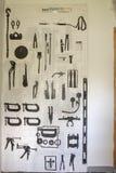 Esquemas autos de la herramienta del body shop foto de archivo