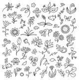 Esquemas de los elementos del diseño floral Imagen de archivo libre de regalías