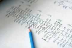 Esquemas eléctricos Imagen de archivo libre de regalías