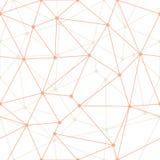 Esquemas finos anaranjados geométricos del triángulo del extracto del vector con el fondo de los puntos Conveniente para la mater stock de ilustración