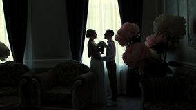 Esquemas oscuros de la novia y del novio enfrente de la ventana la muchacha y el individuo joven se están colocando de lado, haci metrajes