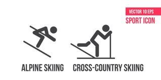 Esqui corta-mato, ícone nórdico do combinedsign do und do esqui alpino, logotipo Ajuste da linha ícones do vetor do esporte, pict ilustração royalty free