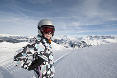 Esqui da criança, alpes franceses Fotografia de Stock Royalty Free