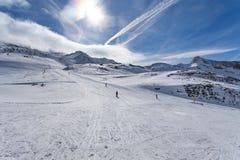 Esqui da montanha - ` Aosta de Itália, Valle d, Cervinia Imagens de Stock