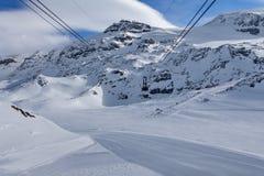 Esqui da montanha - d& x27 de Rose Italy Valle do platô; Aosta Cervinia Imagens de Stock