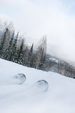Esqui da montanha no fundo da neve Fotos de Stock