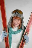 Esqui da mulher Imagens de Stock Royalty Free