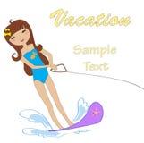 Esqui de água atrativo da menina ilustração do vetor