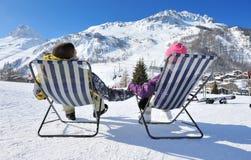 Esqui de Apres em montanhas Imagens de Stock Royalty Free