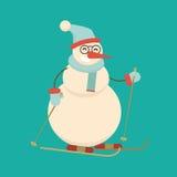 Esqui do boneco de neve do Natal com varas Desenhos animados bonitos alegres e ilustração stock