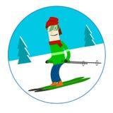Esqui do homem no inverno Foto de Stock