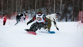 Esqui do inverno e competição dos bordercross Imagens de Stock