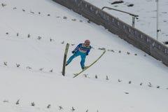 Esqui do WC que voa Vikersund (Noruega) o 14 de fevereiro de 2015 Fotografia de Stock