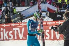 Esqui do WC que voa Vikersund (Noruega) o 14 de fevereiro de 2015 (da ?a metade Fotos de Stock Royalty Free