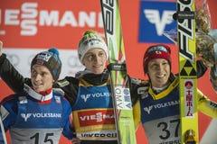 Esqui do WC que voa Vikersund (Noruega) o 14 de fevereiro de 2015 (da ?a metade Fotografia de Stock