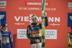 Esqui do WC que voa Vikersund (Noruega) o 14 de fevereiro de 2015 (da ?a metade Imagens de Stock