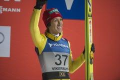 Esqui do WC que voa Vikersund (Noruega) o 14 de fevereiro de 2015 (da ?a metade Imagens de Stock Royalty Free