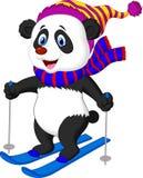 Esqui dos desenhos animados da panda Fotos de Stock