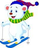 Esqui dos desenhos animados do urso polar Fotografia de Stock Royalty Free