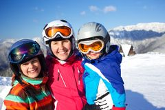 Esqui, inverno, família imagens de stock royalty free
