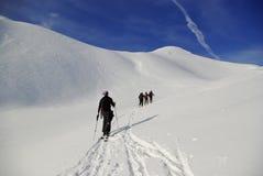 Esqui que visita no Appennines foto de stock
