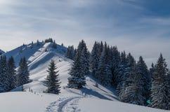 Esqui que visita a trilha na paisagem ensolarada bonita do inverno, Oberstdorf, Alemanha Foto de Stock