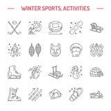 Esqui, snowboard, patins, tubulação, gelo linha ícone do esporte de inverno que kiting, da escalada e o outro ilustração stock