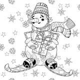 Esqui tirado mão do boneco de neve do Natal da garatuja de Zentangle Ilustração do Vetor