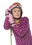 Esquiador atractivo de la muchacha en el fondo blanco fotos de archivo libres de regalías
