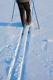 Esquiador a campo través en pistas Fotografía de archivo