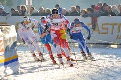 Esquiador canadiense Gaiazova en la raza de Milano en la ciudad Fotos de archivo