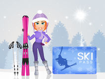 Esquiador de la muchacha con los skipass Imagenes de archivo