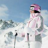 Esquiador de la mujer Foto de archivo libre de regalías