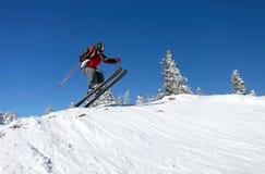 Esquiador de salto imagem de stock