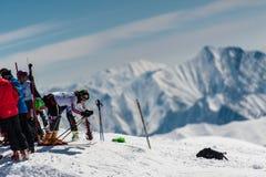 Esquiador del eslalom en Gudauri, Georgia Imágenes de archivo libres de regalías