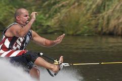 Esquiador descalço 04 da água Fotos de Stock Royalty Free