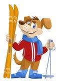 Esquiador divertido del perro de la historieta Imagen de archivo libre de regalías