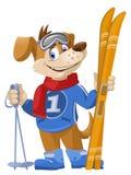 Esquiador divertido del perro de la historieta Fotos de archivo