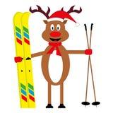 Esquiador dos cervos dos desenhos animados ilustração do vetor