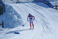 Esquiador durante el maratón nórdico Sgambeda del esquí fotografía de archivo libre de regalías