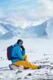 Esquiador en casco y gafas Foto de archivo