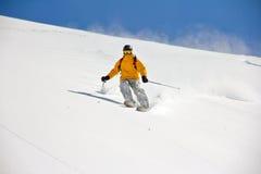 Esquiador en el polvo profundo, freeride extremo Imagenes de archivo