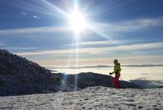 Esquiador en Jasna Ski Resort, Cárpatos Foto de archivo