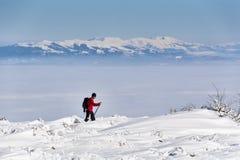 Esquiador en la montaña del invierno Foto de archivo libre de regalías